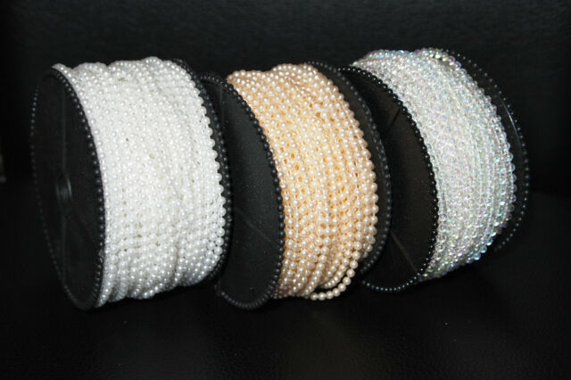 10m of 3mm bead pearl string (Ivory/White/Colourless)