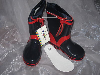 Playshoes Gummistiefel PVC frei Stiefel dunkelblau rot warm gefüttert