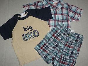 Gymboree-BEACH-BULLDOG-Patchwork-Shorts-Plaid-Shirt-Big-Bro-Tee-NWT-12-18-U-PICK