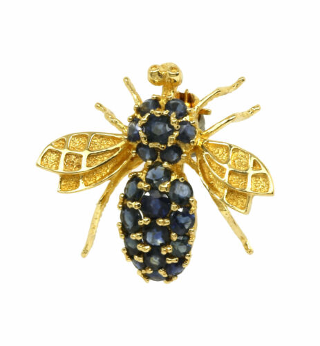 ESTATE 14K YELLOW GOLD & BLUE SAPPHIRES 3D HOUSE FLY BUG LADIES PIN BROOCH