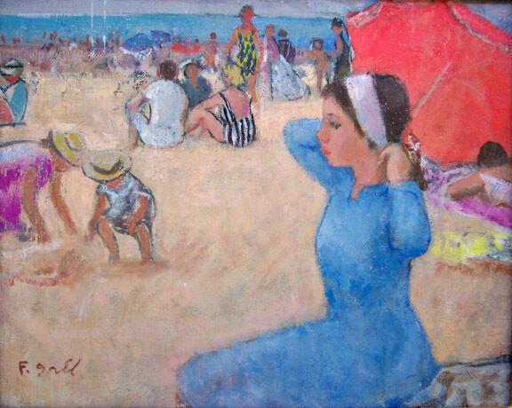 "FRANCOIS GALL Signed Original Oil Painting - ""Au Plage"""