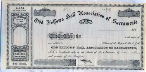 Odd Fellows Hall Association of Sacremento California Stock Certificate