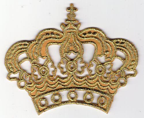 ECUSSON PATCHE THERMOCOLLANT COURONNE CROWN REINE ROI PRINCESSE OR GOLD 8 X 6 CM