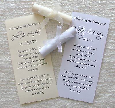 10 Personalised Wedding Favour Scrolls with Ribbon