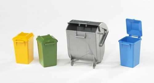Bruder - 02606 - Garbage Can Set - Pack of 4 - 1 Large Bin - 3 Small