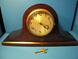 Antique-WM-L-Gilbert-Mantel-Key-wound-Clock-Normandy-Chime-19-034-Long-WORKS