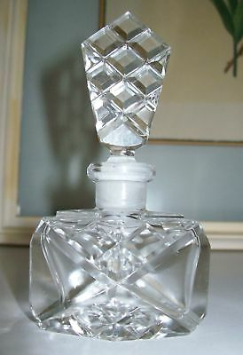 """Vintage Czech Perfume Bottle~Dauber Intact~SIGNED~4"""" Tall~Rare~Very Collectible"""