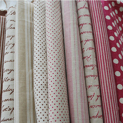 1 Meter Printed Cotton Linen Fabric Patchwork Polka Dots Text Typography Stripe