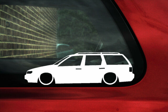 2x Lowered car outline stickers - for VW Passat B4 35i estate g60 / VR6, low