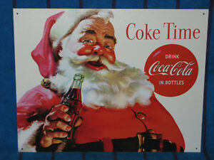 New-Tin-Sign-Coca-Cola-Coke-Time-With-Santa-Made-in-USA