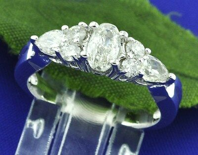 1.12 ct 14k Solid White Gold Ladies Natural Diamond RIng  Pear Shape oval