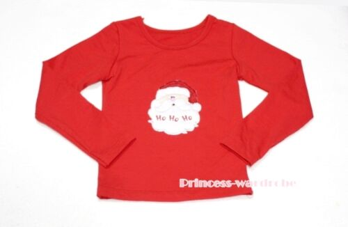 Xmas Santa Claus Printing Red Long Sleeve Pettitop Tank Top For Pettiskirt 1-8Y