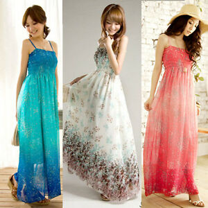 SEXY-HOT-Womens-Ladies-BOHO-Exotic-Summer-Chiffon-Long-Dress-4-Colors