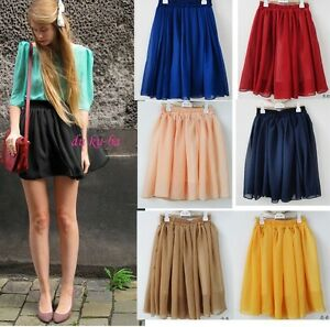 2012-Retro-high-waist-pleated-double-layer-chiffon-Short-Mini-Pompon-Dress-skirt