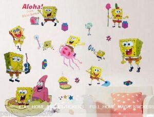 SpongeBob-SqaurePants-Wall-Stickers-Nursery-Childs-Kids-Room-Decor-Art-Decals