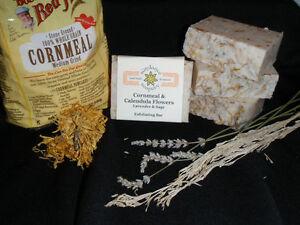 Homemade-Soap-CORNMEAL-CALENDULA-Lavender-Sage-All-Natural-American-Made