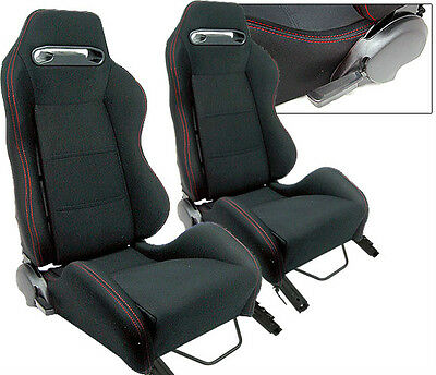 NEW 2 Black Red Stitch Racing Seats RECLINABLE w/ Slider all Mitsubishi