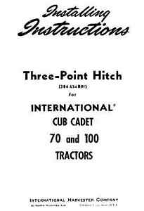 Cub-Cadet-3-Three-point-Hitch-for-Model-70-and-100-Tractors-Installation-Manual