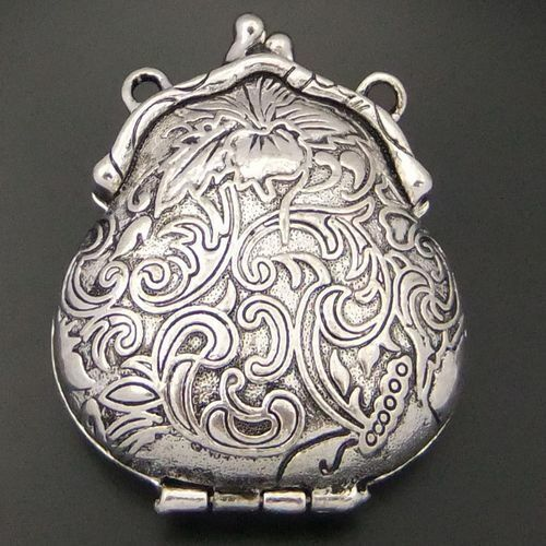 Atq silver carved purse locket pendants 2pcs 04452