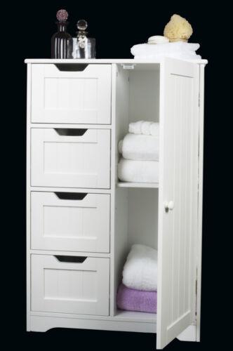 White Wooden Storage Cabinet Four  Drawers & Door, bathroom,bedroom Freestanding