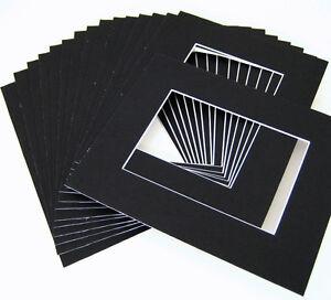 10 of 20x24 Black Pre-cut Acid-free whitecore mat, fits 16x20 + backing board