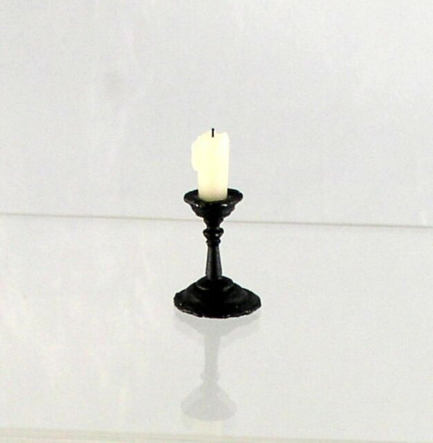 Dollhouse Miniature Wizard's Black Candlestick & Candle