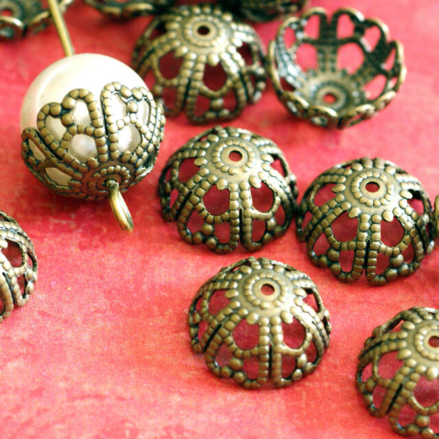 Top Quality 20pcs Antique Bronze Finish Flower Filigree Brass Bead Caps KK-B506
