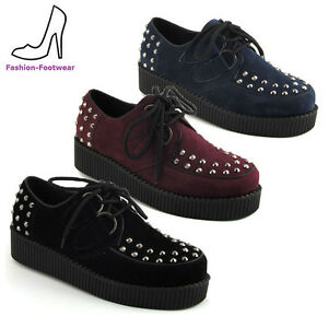Ladies-Platform-Brothel-Lace-Up-Womens-Flat-Stud-Spike-Creepers-Goth-Punk-Shoes