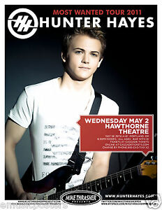 HUNTER HAYES 2012 PORTLAND CONCERT TOUR POSTER -Country ...