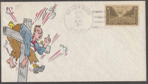 """ROADS END, CA"" FDC HAND PAINTED BY ADLER BL2984"