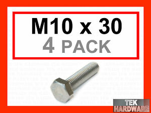 Stainless-Steel-Hex-Head-Bolts-Setscrews-M10-x-30-4Pk