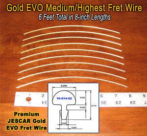 6ft Jescar Gold EVO MEDIUM/HIGHEST Frets/Fret Wire for Guitar & More! 10-14-02