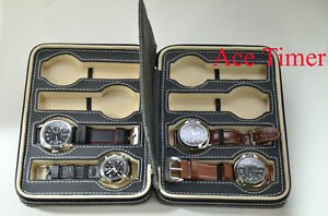 8-Watch-Black-Zippered-Traveling-amp-Storage-Case-Box-Fits-Up-to-54mm