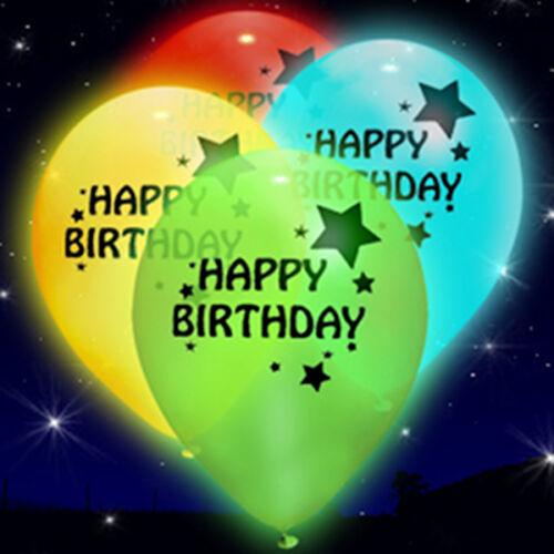 Light Up Happy Birthday illoom Balloons - mixed colour LED glow balloons, 5 pack