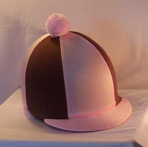 Chapeau Équitation Housse-rose layette /& brown