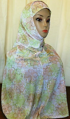 Fancy Hijab Two Piece Amira Muslima Headscarf Long Floral Light Green Sequins#20