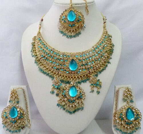 B-6048 Indian Bollywood Costume Kundan Diamante Necklace Set Fashion Jewelry