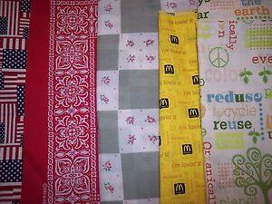 Americana-fabric-100-cotton-Am-Flag-bandana-70-039-s-calico-McDonalds-Organic