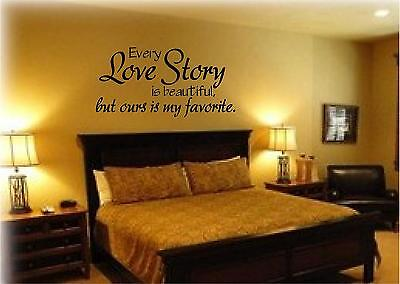 Vinyl lettering LOVE STORY wall quote sticky decal words art