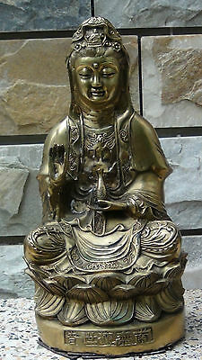 """ANTIQUE CHINESE CAST BRASS  QUAN-YIN STATUE SEATED UPON A LOTUS IN """"PEACE MUDRA"""""""