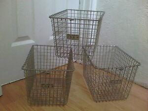 3-AUTHENTIC-Vintage-Metal-Wire-Gym-Pool-Locker-Storage-Basket-Industrial-baskets