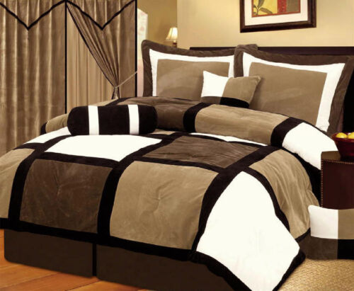 Brown and Black Suede Patchwork Comforter Set//Bed-In-A-Bag Burgundy or White