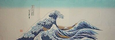 Tenugui Cloth Japanese Cotton 'The Wave' Fabric by Hokusai