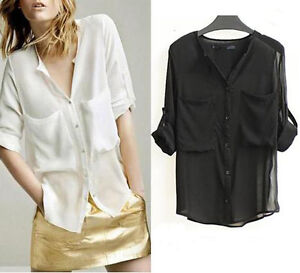 New-Women-Fashion-Simple-Basic-Sheer-Chiffon-Blouse-T-Shirt-With-Pockets-J