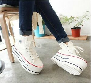 Fashion-Women-039-s-school-Canvas-high-heel-Platform-Sneakers-Lace-up-shoes-205