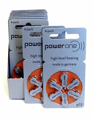 60 PowerOne Hearing Aid Batteries Size P13 Super Fresh Expire June 2019