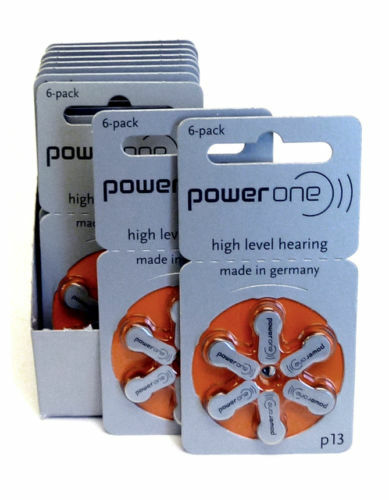60x Genuine PowerOne Hearing Aid Batteries PR48, p13, Size 13 NEW Expire 2019