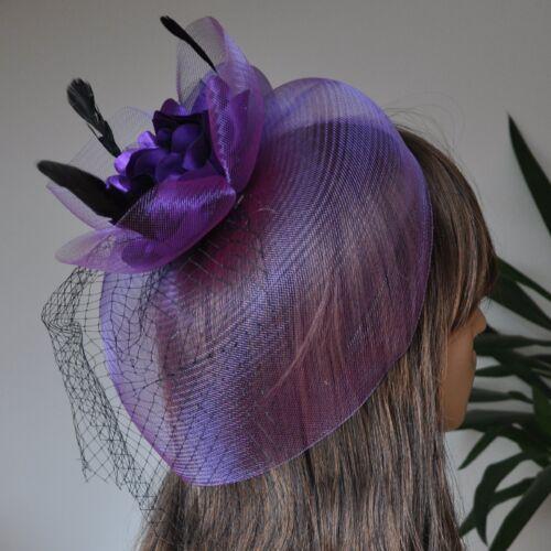 Fascinator Haarclip mit Netz Federn Satin Blume Hochzeit Haarschmuck LILA SB