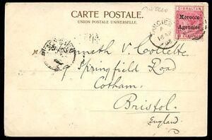 Morocco 1903 u/b PPC Fete de la Poudre Gibraltar QV 10c Tangier duplex postmark
