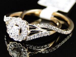 Yellow-Gold-Ladies-Round-Cut-Diamond-Engagement-Wedding-Bridal-Ring-Set-1-4-Ct
